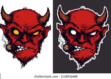 two heads of red devil smoke cigar sticker vector illustration on white and grey print background