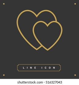 two heart  linear vector icon for websites and mobile minimalistic flat design.