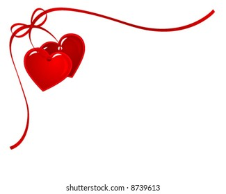 two heart with red bow and ribbon