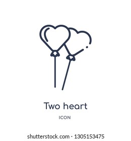 two heart shaped balloons icon from party outline collection. Thin line two heart shaped balloons icon isolated on white background.