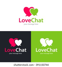Two heart shaped speech bubbles icon. Logo template. Vector illustration.