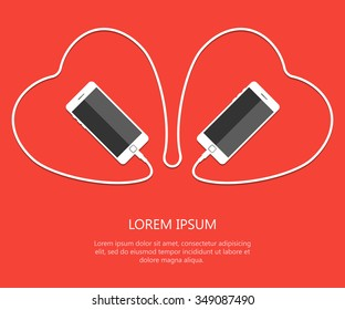 Two Heart with white phone united wire isolated on red background. Valentines day card. Eps. Vector illustration. love smartphone flayer. Cellphones, Holiday poster template.