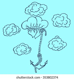 Two hearts and an anchor rope on the background of clouds