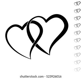 Two hearts - black vector icon and ten icons in  shades of grey