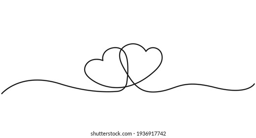 Two Hearts Continuous Line Drawing. Hearts Couple Trendy Minimalist Illustration. One Line Abstract Drawing. Love Minimalist Contour Art. Vector EPS 10.