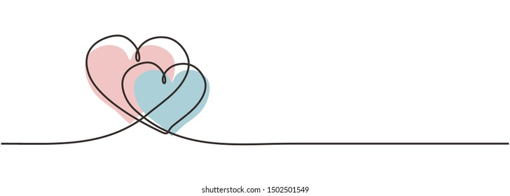 Two hearts embracing each other continuous one line drawing of love concept and romantic symbol for valentine's day greeting design card, poster, and sign. Vector illustration minimalism design.