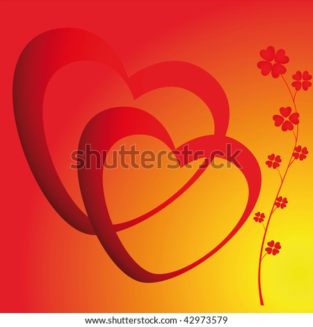 Two Hearts And Flowers On Color Background
