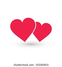 Two hearts icon, vector isolated love red smbol.