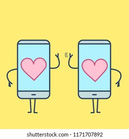 Two hearts inside smartphones. Vector concept illustration of heart caged in modern technology | flat design linear infographic icon on yellow background