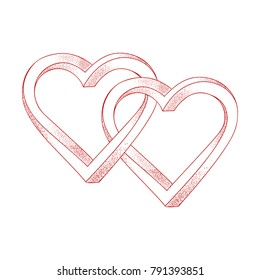 Two hearts intertwined on white background. Optical illusion of 3D three-dimensional volume. Vector illustration. Valentine's Day.