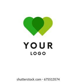 Two hearts logo. Logotype. Vector.