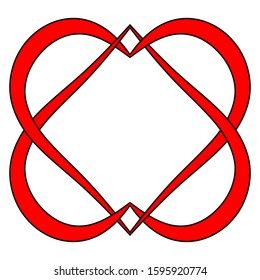 two hearts logo marriage Agency, vector intertwined heart sign symbol eternal mutual love and loyalty