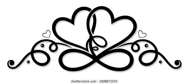 Two hearts in love with infinity loop symbol.
