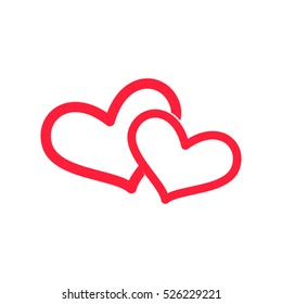 two hearts, love, vector icon, eps10