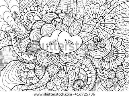 Two Hearts On Flowers Coloring Books Stock Vector (Royalty Free ...