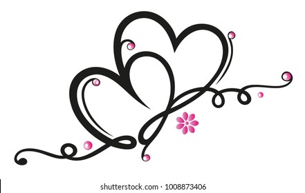 Two hearts with ornament, flowers and infinity loop symbol.