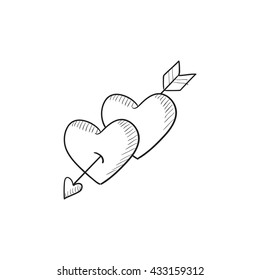 Two Arrows With Heart Icon Cartoon Style 3966343 Onepixel
