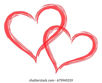 Two hearts vector. 2 in love icon, symbol, illustration design. Red logo. Couple at Valentine's day. Romantic wedding card decoration background. Abstract graphic shape isolated on white background.