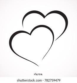 Two hearts - vector icon