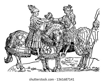 Two heavily dressed military sitting on horseback and shaking hands, vintage line drawing or engraving illustration.