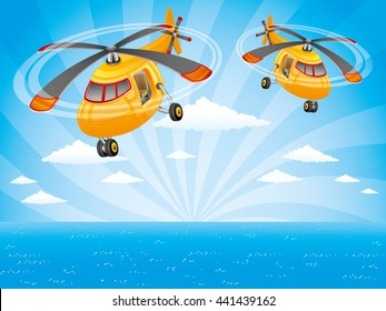 Two helicopters in the sky over the ocean.