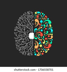 Two hemispheres of the brain responsible for creativity and for the mind on a black background.