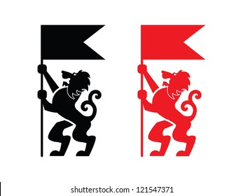 Two Heraldic Lions Holding up Flags.