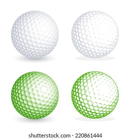 Two hi detail golf balls, one shaded and one flat style. File is organized with Layers, separating balls from shadows. All colors are global, so it's easy to customize and color the ball as you need
