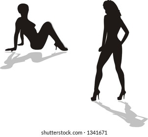 two high fashion models performing on the stage, silouettes of a beautiful body lines - vector art
