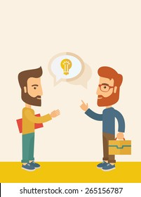 Two hipster Caucasian friends with beard standing  planning and sharing brilliant ideas with their hands raising on what kind of business they want to build up.  Human intelligence concept.
