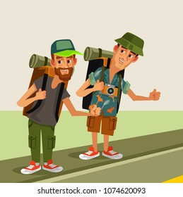 Two hipster man hitch hikerscharacters with backpack trying stop car highway road. Travel hitch hikingjourney holiday concept. Vector flat cartoon graphic design isolated illustration