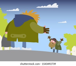 Two hobos greet each other in the street vector cartoon