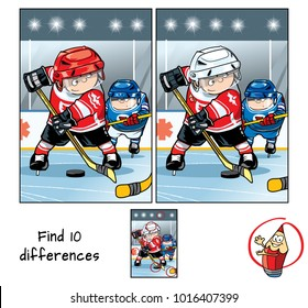 Two hockey players on the hockey field. Find 10 differences. Educational game for children. Cartoon vector illustration