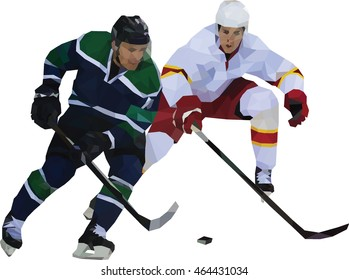 Two hockey players struggle for puck. Polygonal mosaic. Vector image