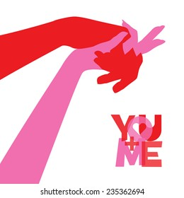 Two holding hands. You and Me in Love concept. Vector EPS 10 illustration.
