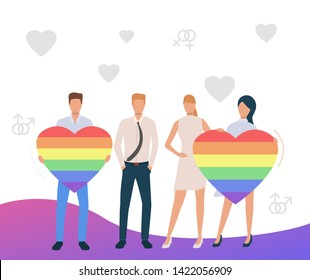 Two homosexual couples advertising LGBT pride. Men and women holding rainbow hearts. Homosexuality concept. Vector illustration can be used for topics like LGBTQ, gay, lesbian
