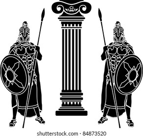 two hoplits and column. stencil. vector illustration