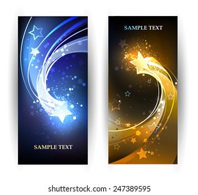 Two horizontal banner with blue and gold stars.