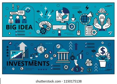 Two horizontal banner on business topics in modern flat line style. Blue web banner, big idea, investments. Business concept, vector illustration.