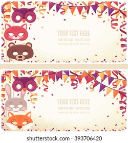 Two horizontal banners with animal masks, paper streamers, triangular flags and confetti. Retro vector illustration. Invitation, card, poster, flyer. Place for your text. Costume party layout