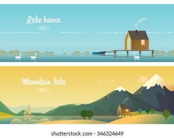 Two horizontal banners. a house on the lake. Mountain lake, sailing on the lake