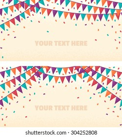 Two horizontal banners with retro multicolored party flags and confetti. Holiday background. Place for your text