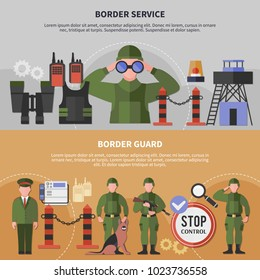 Two horizontal border service banners set with guards wearing uniform flat isolated vector illustration