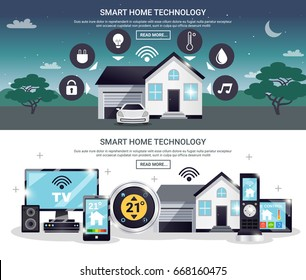 Two horizontal and colored smart home banner set with technology description and read more buttons vector illustration