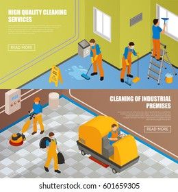 Two horizontal isometric industrial cleaning banner set with high quality cleansing service and cleaning of industrial premises descriptions vector illustration