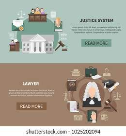 Two horizontal law banners with images of judicial items court house text and read more button vector illustration