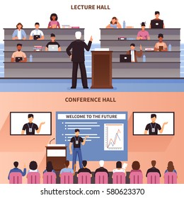 Two horizontal lecture and conference hall banner set with welcome to the future description vector illustration