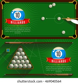 Two horizontal play billiards realistic compositions with red ribbons and 3d pool game vector illustration