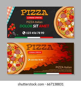 Two Horizontal vector flyers with pizza and fire on wood background. Wooden fire. Vector illustration.