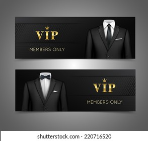 Two horizontal vip privilege members luxury products advertisement black banners set with businessman suits isolated vector illustration